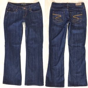 Seven7 Flare Jeans Dark Wash Low Rise Blue Stretch